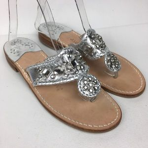 JACK ROGERS Sz 8M Silver Leather Jeweled Sandals